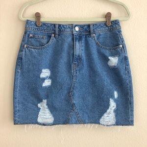 Divided H&M Distressed Denim Mini Skirt